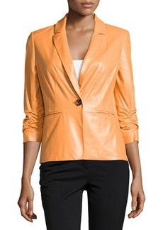 Lafayette 148 New York Ruched Sleeve Leather Jacket