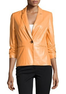Lafayette 148 New York Ruched Sleeve Leather Jacket, Cantaloupe