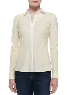 Lafayette 148 New York Rula Long-Sleeve Blouse, Lemon Sorbet