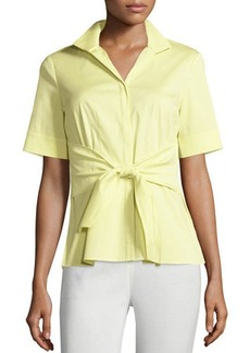 Lafayette 148 New York Ruth Short-Sleeve Tie-Waist Blouse