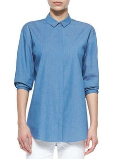 Lafayette 148 New York Sabira Chambray Snap-Front Blouse
