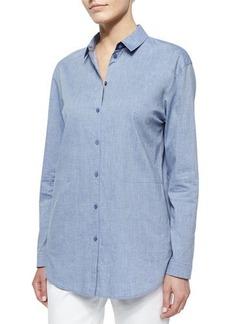 Lafayette 148 New York Sabira Cotton-Stretch Side-Pocket Shirt  Sabira Cotton-Stretch Side-Pocket Shirt