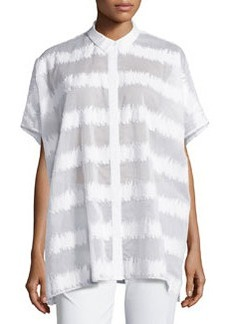 Lafayette 148 New York Salma Short-Sleeve Static Blouse, White