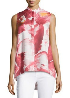 Lafayette 148 New York Sari Floral-Print Sleeveless Blouse, Rose/Multi
