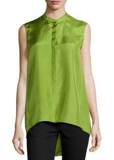 Lafayette 148 New York Sari Sleeveless Silk Blouse, Grass