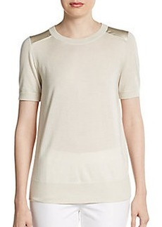 Lafayette 148 New York Satin-Trimmed Cashmere & Silk Sweater