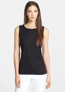 Lafayette 148 New York Scoop Neck Linen Blend Shell
