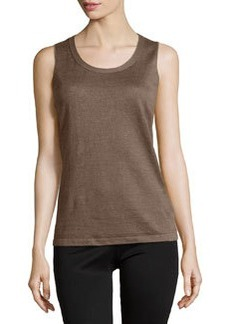 Lafayette 148 New York Scoop-Neck Sleeveless Linen Shell, Nougat