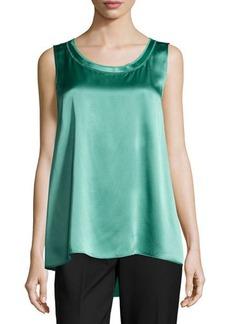 Lafayette 148 New York Scoop-Neck Sleeveless Silk Blouse