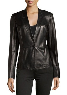 Lafayette 148 New York Seamed Lambskin One-Button Blazer