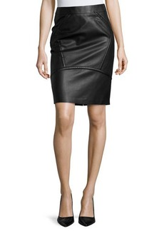 Lafayette 148 New York Seamed Leather Pencil Skirt