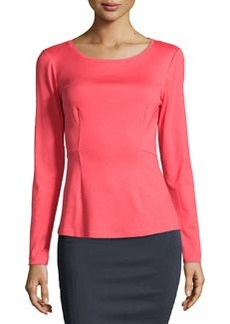Lafayette 148 New York Seamed Peplum Top, Geranium