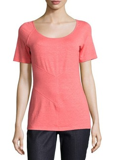 Lafayette 148 New York Seamed Scoop-Neck Raglan Tee