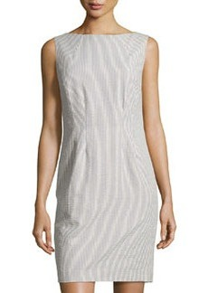Lafayette 148 New York Seersucker Sleeveless Shift Dress, Raffia/Multi