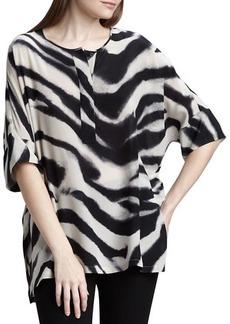 Lafayette 148 New York Selene Zebra-Print Silk Top