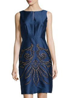Lafayette 148 New York Shantung Embellished Sleeveless Dress, Luna
