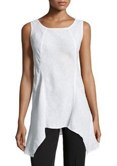 Lafayette 148 New York Sharkbite-Hem Sleeveless Linen Top, White