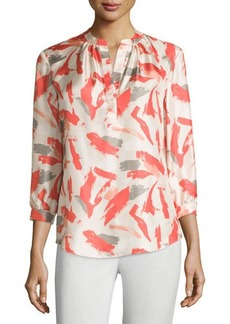 Lafayette 148 New York Sharla 3/4-Sleeve Silk Blouse