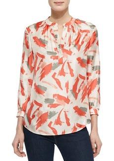 Lafayette 148 New York Sharla 3/4-Sleeve Silk Print Blouse