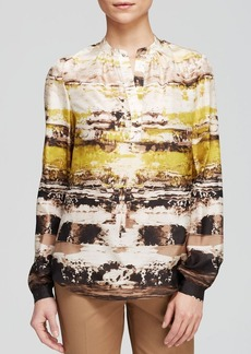 Lafayette 148 New York Sharla Abstract Print Blouse