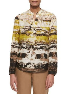Lafayette 148 New York Sharla Long-Sleeve Printed Blouse