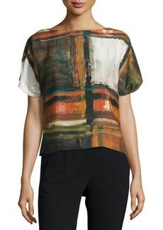 Lafayette 148 New York Shauna Short-Sleeve Abstract-Print Top, Masala Multi