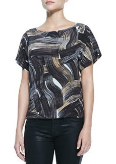 Lafayette 148 New York Shauna Short-Sleeve Brushstroke-Print Blouse