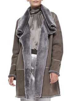 Lafayette 148 New York Shearling Wing-Collar Coat