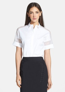 Lafayette 148 New York Sheer Inset Stretch Cotton Blouse