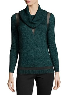 Lafayette 148 New York Sheer-Panel Cowl-Neck Sweater