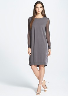Lafayette 148 New York Sheer Sleeve Mixed Media Dress