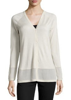 Lafayette 148 New York Sheer-Trim V-Neck Cardigan, Raffia