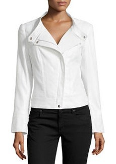 Lafayette 148 New York Shimmer Button-Tab Collar Jacket, Silver Metallic