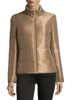 Lafayette 148 New York Shimmery Quilted Zip-Front Jacket