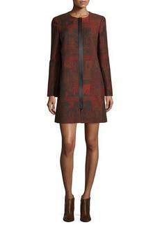 Lafayette 148 New York Shira Abstract-Print Long Coat, Black Multi
