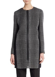 Lafayette 148 New York Shira Metallic Plaid Coat