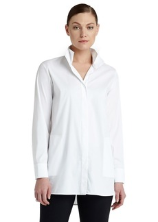 Lafayette 148 New York 'Shirley' Pleat Back Stretch Poplin Shirt