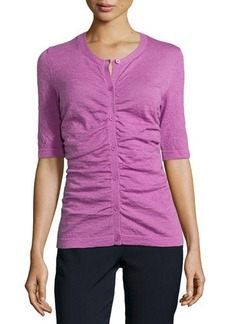 Lafayette 148 New York Shirred-Front Cardigan