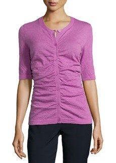 Lafayette 148 New York Shirred-Front Cardigan, Blossom