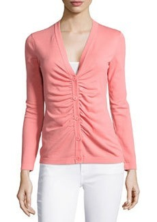 Lafayette 148 New York Shirred-Front V-Neck Cardigan, Cameo