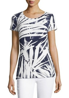 Lafayette 148 New York Short-Sleeve Abstract Floral-Print Tee