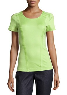 Lafayette 148 New York Short-Sleeve Banded-Seams Top