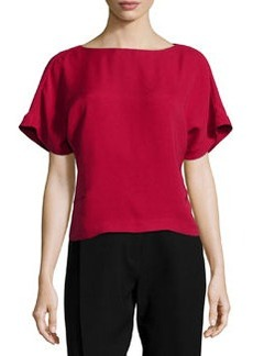 Lafayette 148 New York Short-Sleeve Bateau-Neck Blouse, Snapdragon