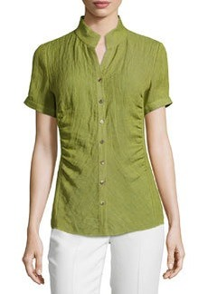 Lafayette 148 New York Short-Sleeve Button-Front Blouse, Scallion