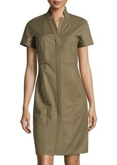 Lafayette 148 New York Short-Sleeve Button-Front Sheath Dress