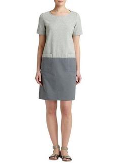 Lafayette 148 New York Short-Sleeve Colorblock Shift Dress, Gray Multi