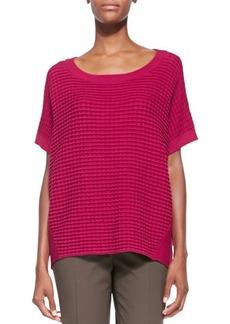 Lafayette 148 New York Short-Sleeve Combo-Knit Sweater
