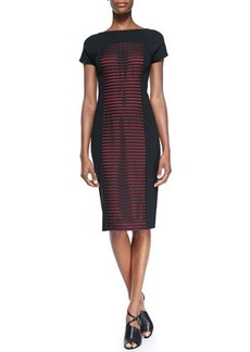 Lafayette 148 New York Short-Sleeve Dress with Striped Honeycomb Latticework