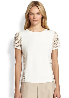 Lafayette 148 New York Short-Sleeve Eyelet-Trim Pullover