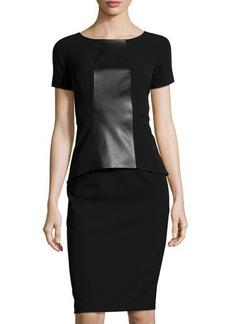 Lafayette 148 New York Short-Sleeve Faux-Leather Peplum Dress
